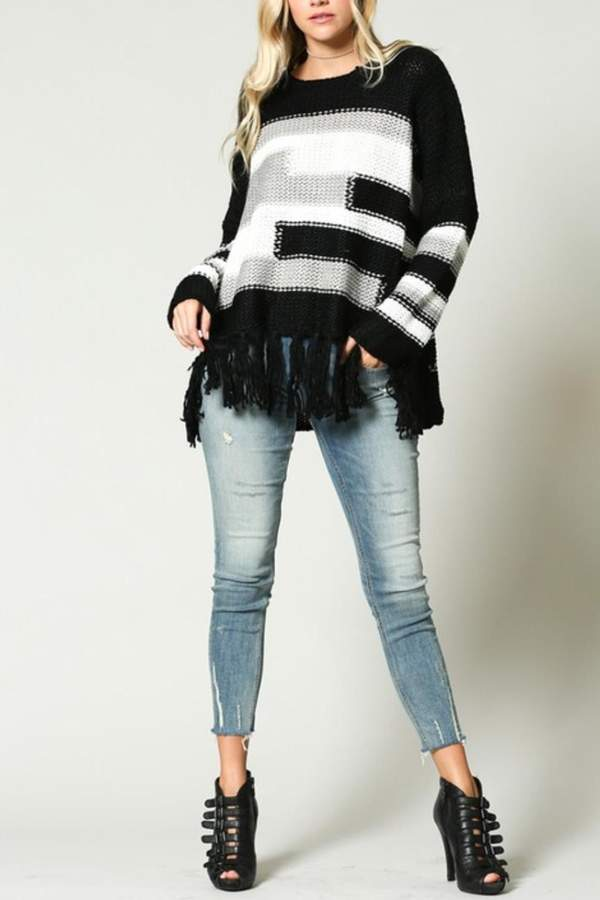 KyeMi Color-Block Fringe Sweater