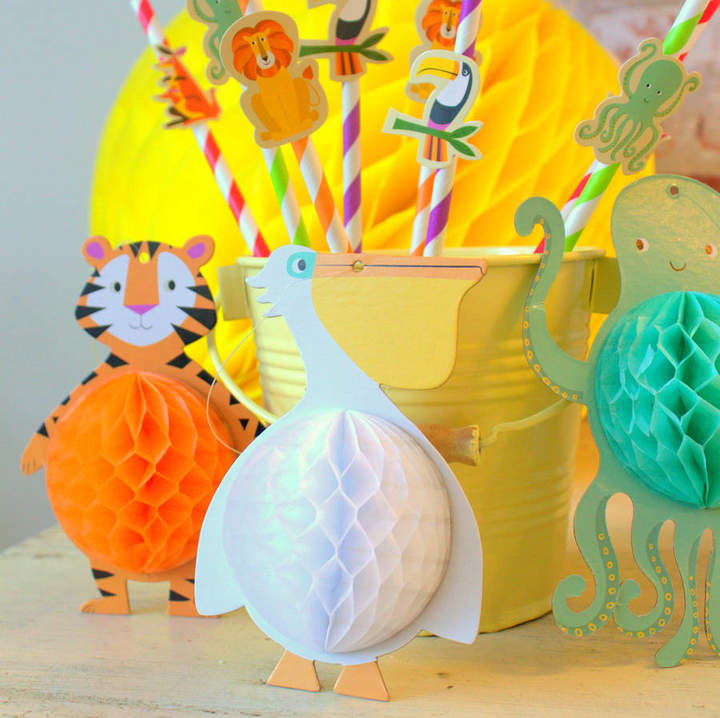 Little Ella James Set Of Five Animal Honeycomb Party Decorations