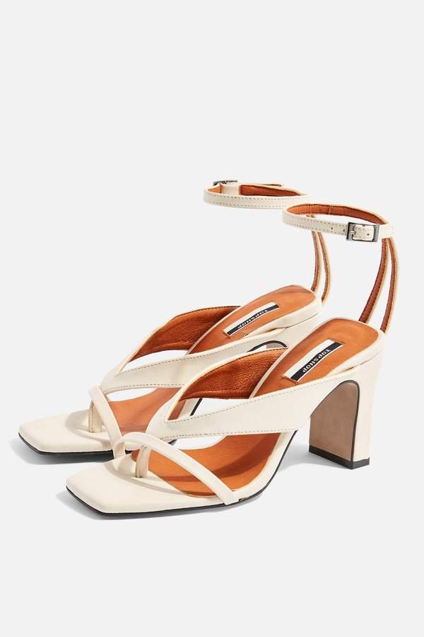 Topshop Womens Reid Vegan Stone Strappy Sandals - Buttermilk