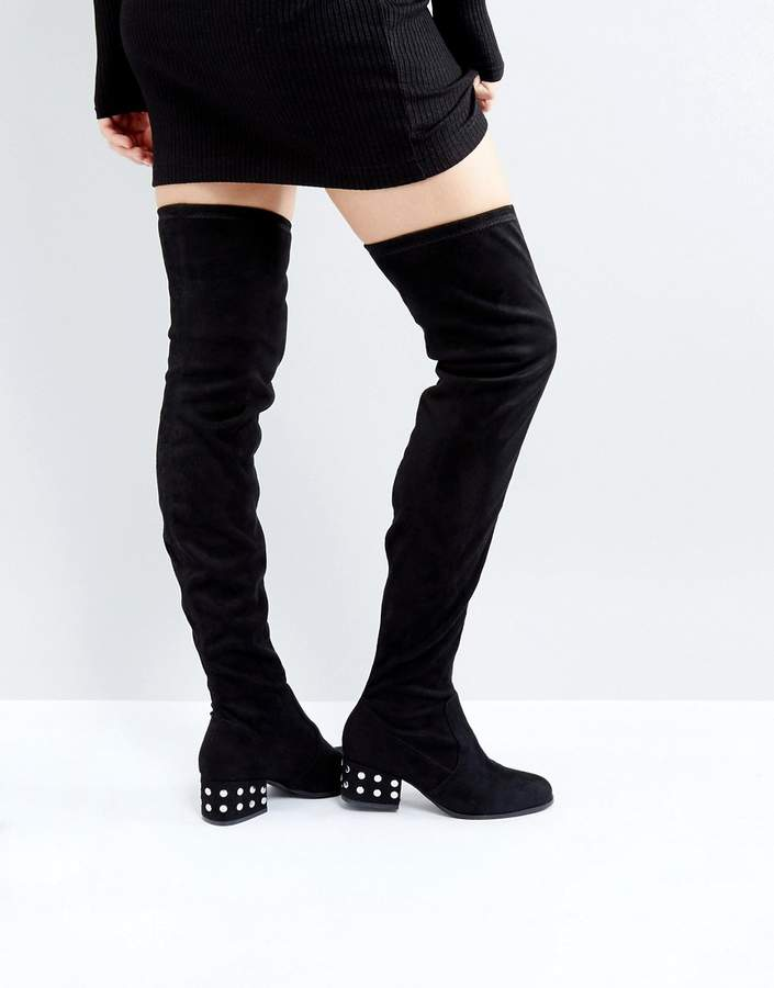 London Rebel Silver Stud Kitten heel Over Knee Boot
