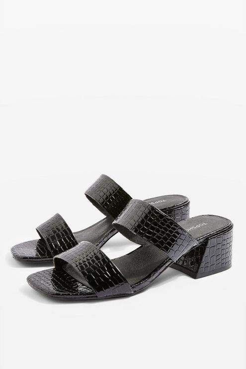 Topshop Womens Downtown Crocodile Effect Two Part Mules - Black
