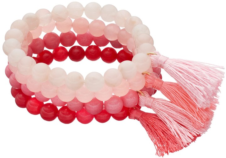 Loli Bijoux LOLI BIJOUX Breast Cancer Awareness Pink Beaded Tassel Stretch Bracelet Set