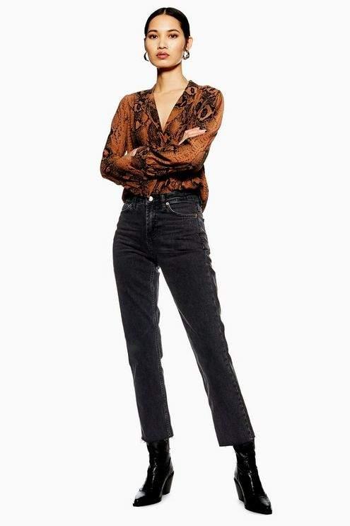 Topshop Womens Petite Washed Black Raw Hem Straight Leg Jeans