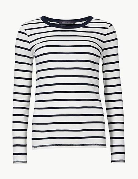 M&S Collection PETITE Pure Cotton Striped T-Shirt