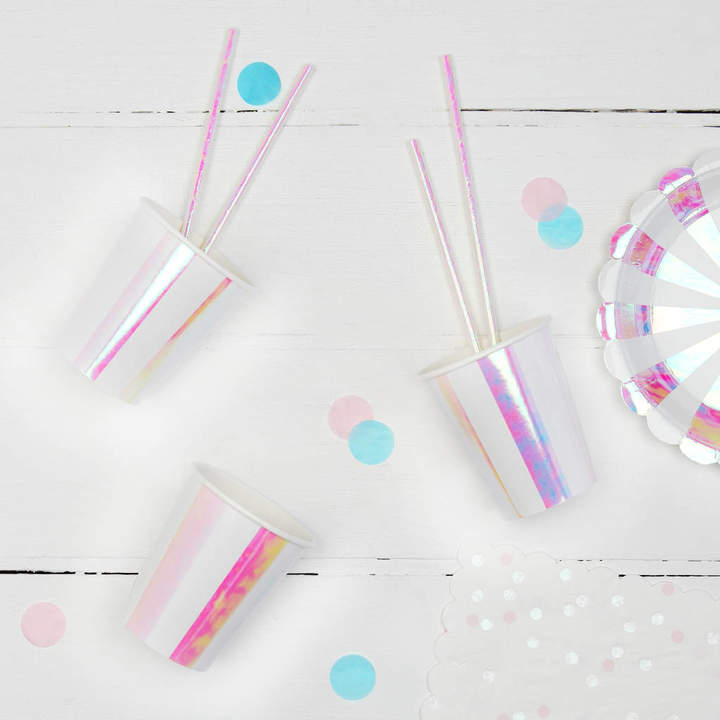 Postbox Party Iridescent Stripe Party Cups