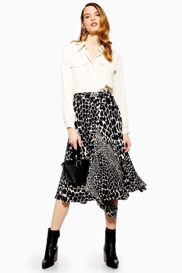 Topshop Womens Petite Giraffe Spot Pleated Midi Skirt - Monochrome
