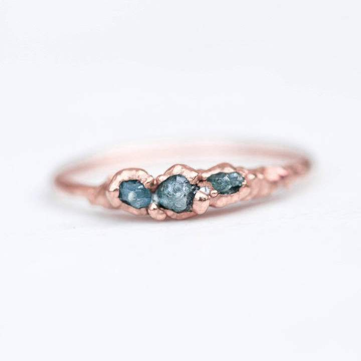 Etsy Triple Raw Blue Diamond Ring, Rose Gold Ring, Raw Diamond Ring, Gemstone Ring, Raw Stone Ring, April