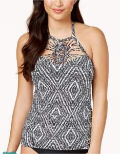 Island escape diamond bay high neck macrame tankini top created for macy   women swimsuit also swimwear shopstyle rh