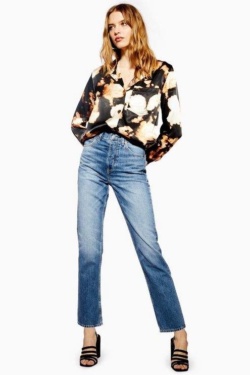 Topshop Womens Mid Blue Editor Jeans