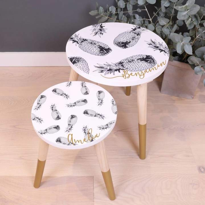 Lisa Angel Personalised Monochrome Pineapple Wooden Side Table