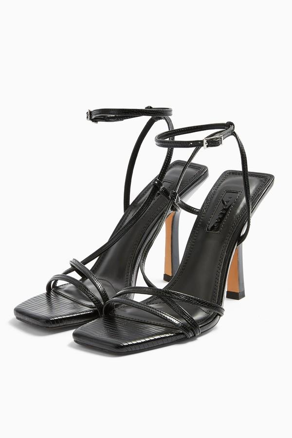Topshop Womens Ritz Black Strap High Heels - Black