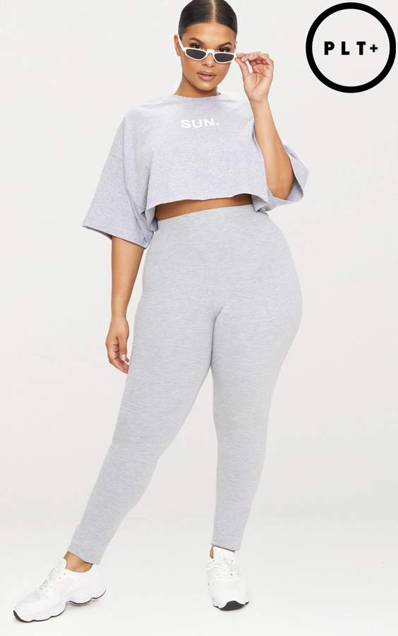 Plus Grey Jersey Leggings