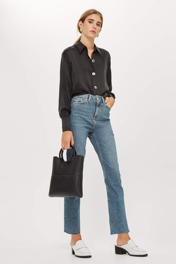 Topshop Womens Mid Blue Straight Leg Raw Hem Jeans - Blue