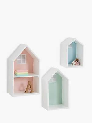 Great Little Trading Co Townhouse Pastel Wall Shelves, Multi