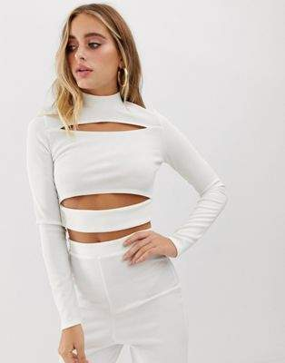 Missguided ribbed high neck top with cut out detail co - ord in white