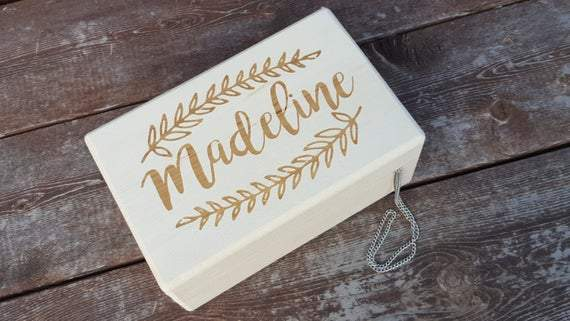 Rustic Jewelry Box - Custom engraved keepsake box - Little Girl Jewelry Box - Flower Girl Gift - Baptism Gift - Personalized Keepsake