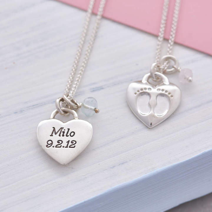 Scarlett Jewellery Silver New Baby Footsteps Personalised Necklace