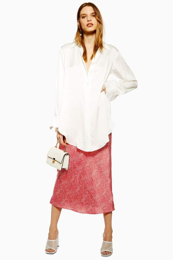 Topshop Womens Spot Animal Satin Bias Midi Skirt - Red