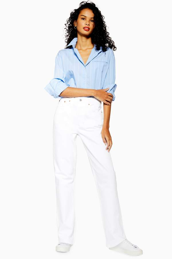 Topshop Womens White Dad Jeans - White