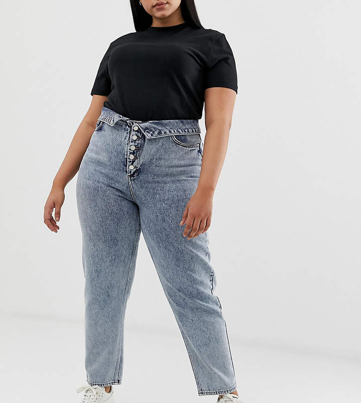 Asos Curve ASOS Design Curve ritson rigid mom jeans with exposed fly and fold over waist detail in light stone wash