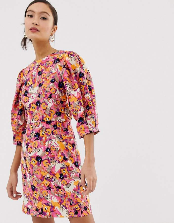 Monki floral print puff sleeve mini dress in pink