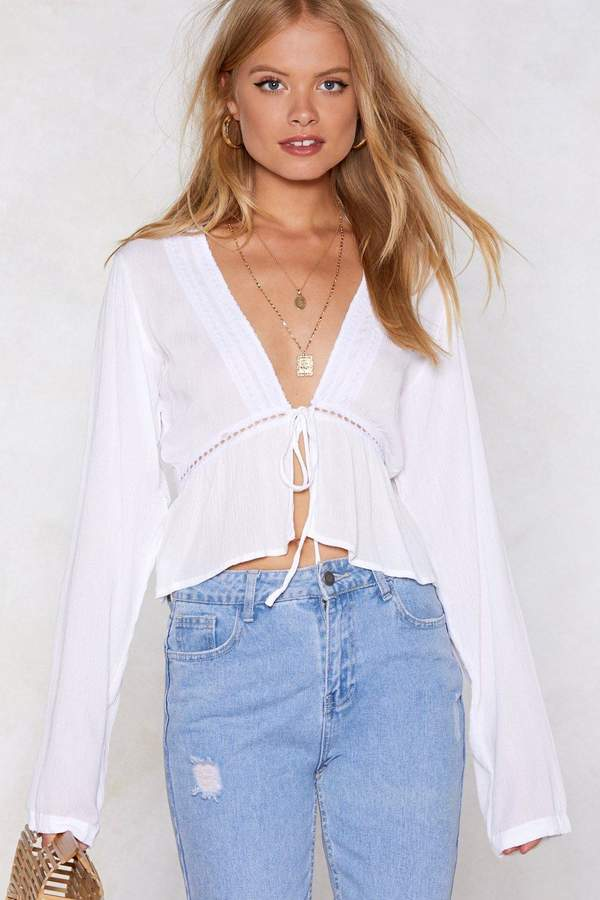 Nasty Gal Soft Touch Broderie Blouse