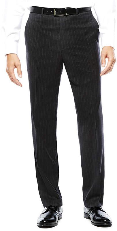 STAFFORD Stafford Super 100 Charcoal Chalk-Stripe Flat-Front Wool Suit Pants - Classic Fit