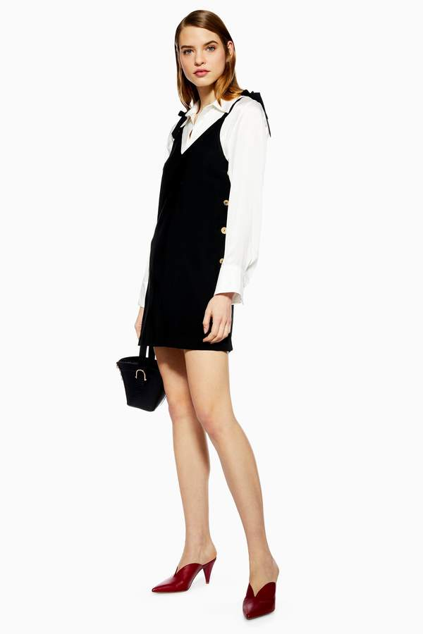 Topshop Womens Button Mini Slip Dress - Black