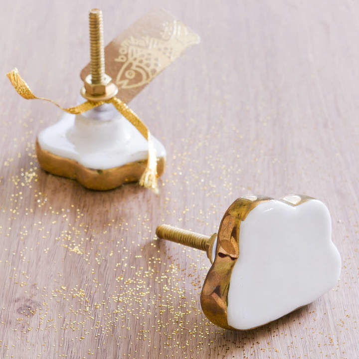 The Best Room Cloud Shape Knob With Gold Rim