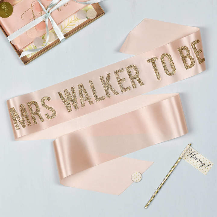 Oh Squirrel Personalised Bold Glitter Print Hen Party Sash
