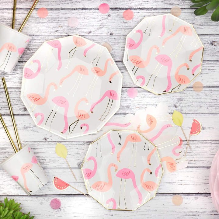 Postbox Party Neon And Gold Flamingo Pattern Party Plates