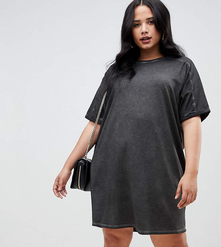 Asos Curve ASOS DESIGN Curve t-shirt dress with rolled sleeves and wash
