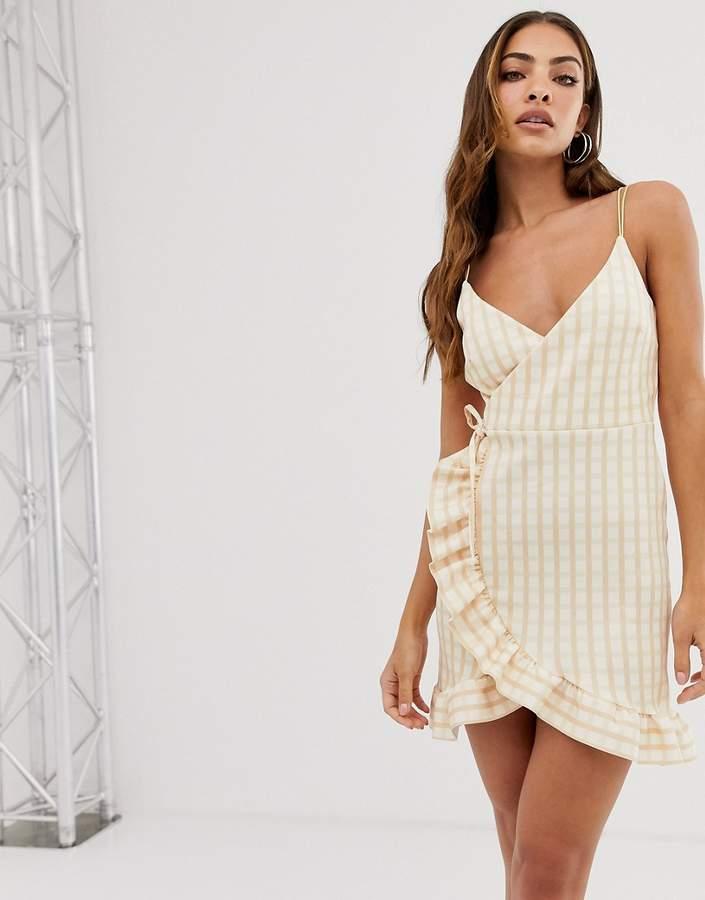 Asos Design ASOS DESIGN cami wrap mini dress with frill hem in check