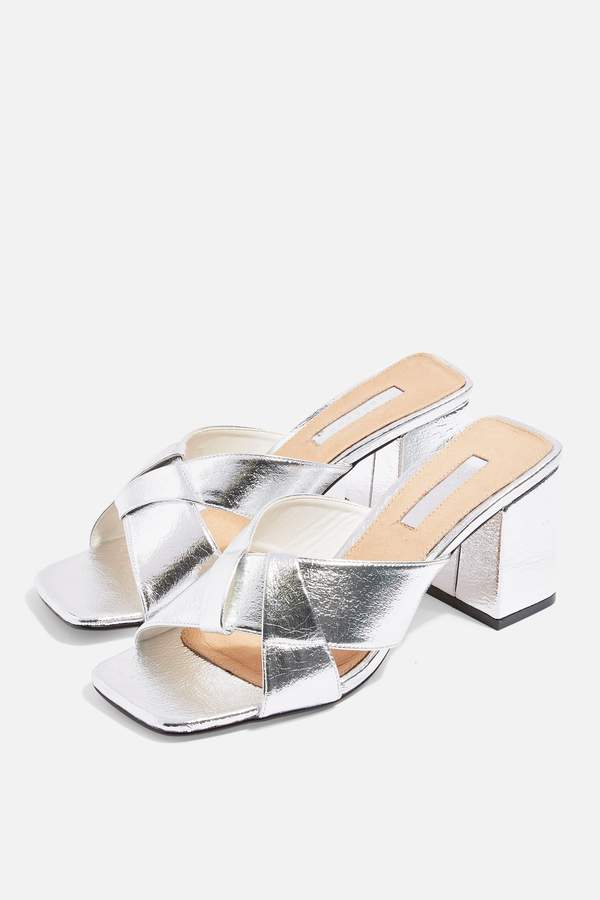 Topshop Womens Roux Cross Strap Mules - Silver