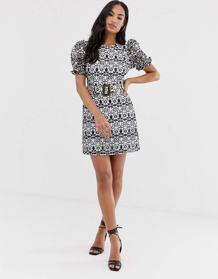Asos Design ASOS DESIGN premium contrast lace mini dress with buckle belt