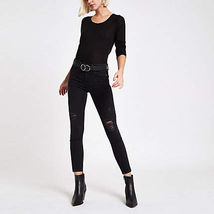 Womens Black RI mid rise Molly ripped jeggings