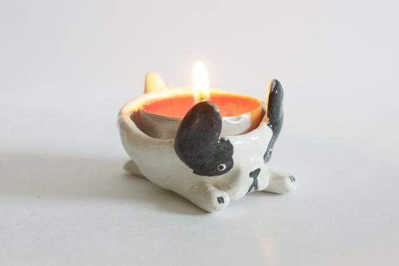 Custom Ceramic Dog Candle Holder/ Dog Candle Bowl/ Handmade Ceramic Dog/ French Bulldog/ Ceramic Tealight Holder