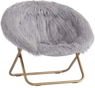hang around chair pottery barn deluxe massage used furniture round shopstyle teen himalayan faux fur a gray