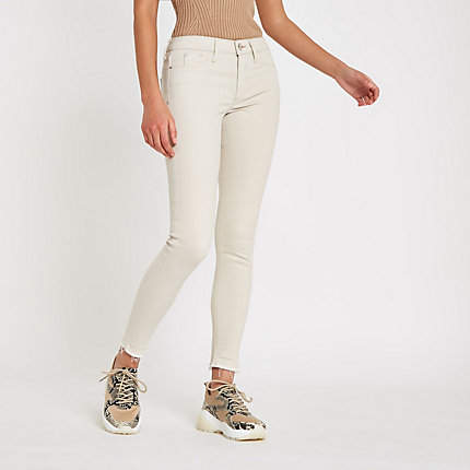 River Island Womens Cream Molly mid rise jeggings