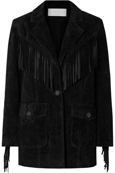 Re/Done RE/DONE - Oversized Fringed Suede Blazer - Black