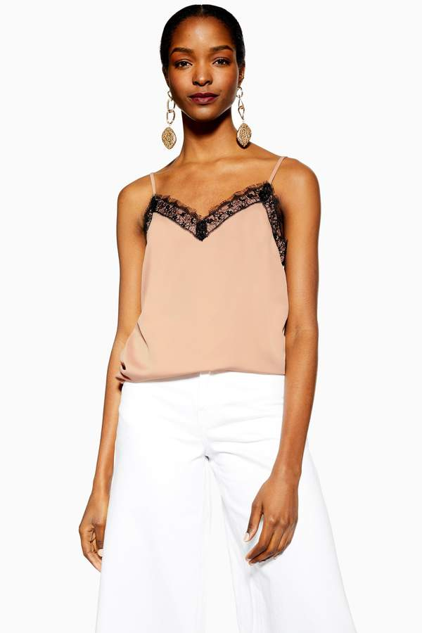 Topshop Womens Lace Cami - Nude