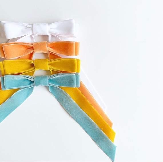 Velvet Bow Series - Long Bows - Velvet Hair Tie or Barrette - Several colors