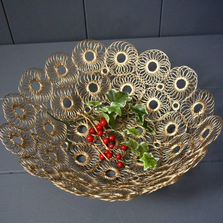 London Garden Trading Gold Wire Bowl