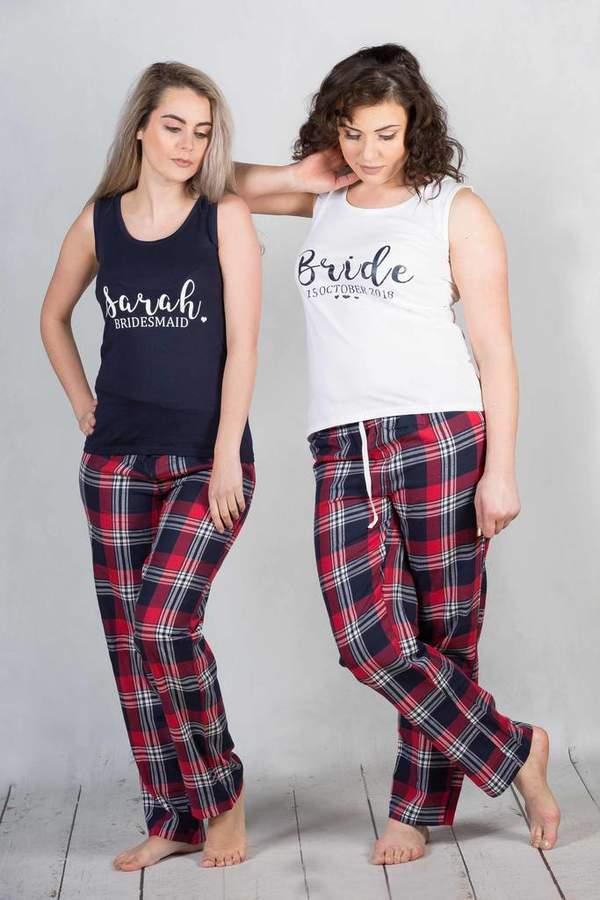 The Little Lovebird Bride Party Tartan Long Pyjamas