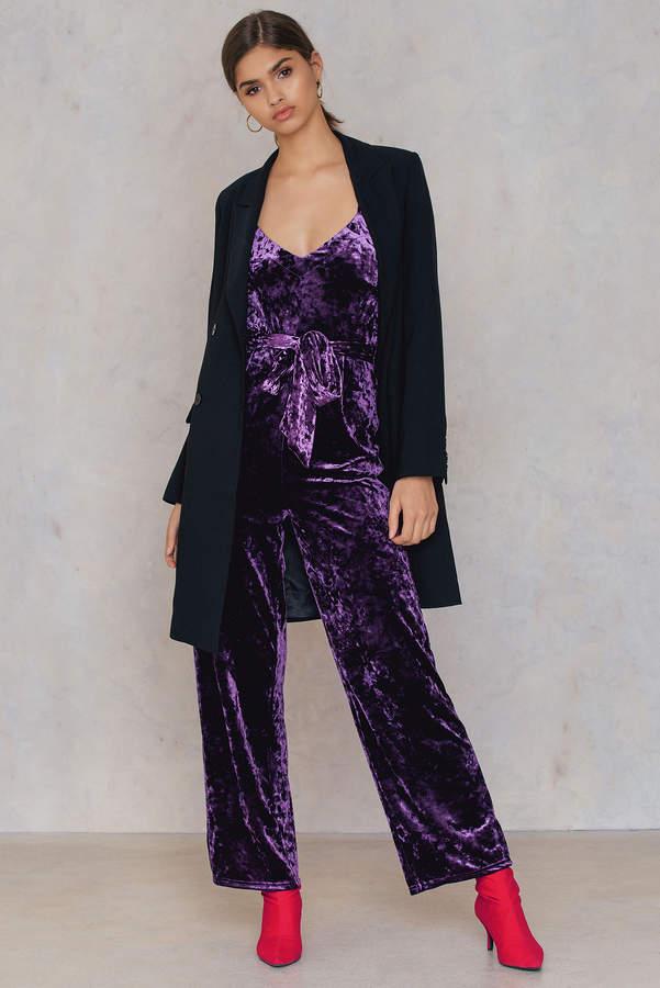 NA-KD Velvet Thin Strap Jumpsuit Dark Purple