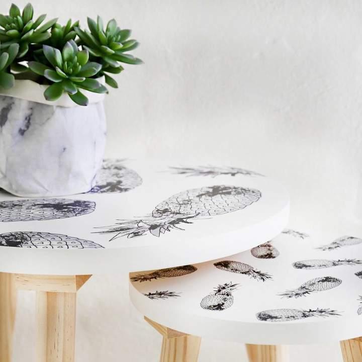 Lisa Angel Monochrome Pineapple Wooden Side Table