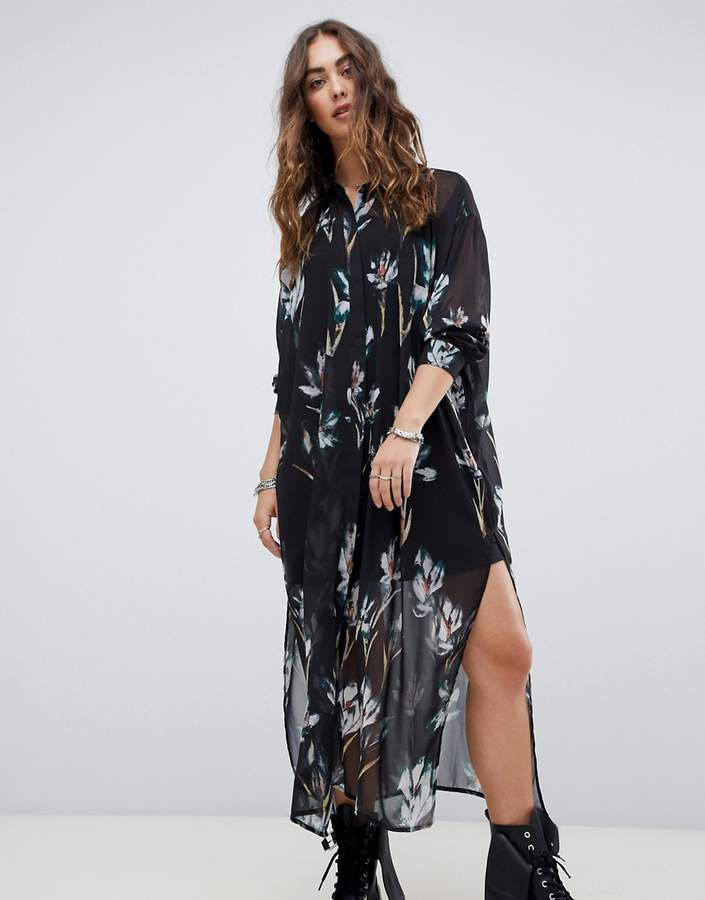 Religion midi shirt dress in grunge floral