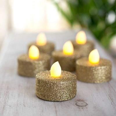 Lights4Fun Set Of 6 Gold Glitter Battery Led Tea Lights
