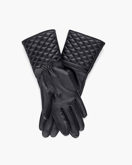 Chicos Black Quilted Leather Gloves