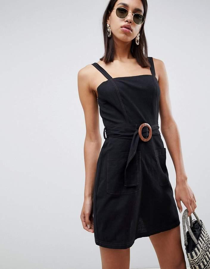 Asos Design ASOS DESIGN square neck linen mini sundress with wooden buckle & contrast stitch